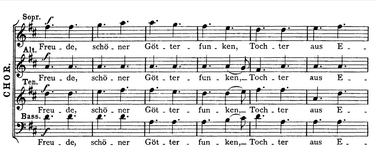 """Beginn der """"Ode an die Freude"""" aus Beethovens Sinfonie Nr. 9"""