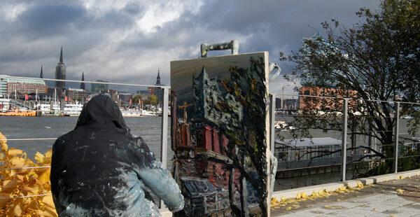 Christopher Lehmpfuhl malt die Elbphilharmonie