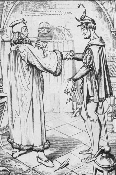 Faust und Mephisto schließen den Teufelspakt, Illustration von Julius Nisle