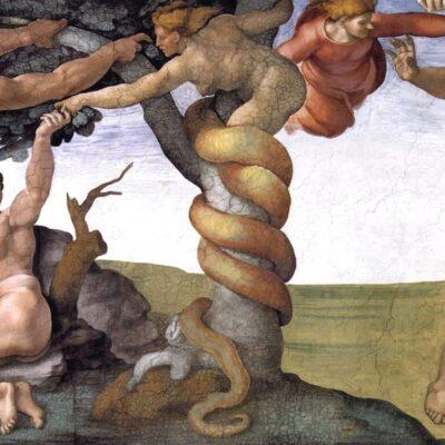 Adam und Eva, Gemälde von Michelangelo in der Sixtinischen Kepelle