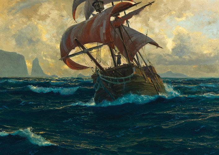 """""""Der fliegende Holländer"""". Gemälde von Michael Zeno Diemer, um 1940"""