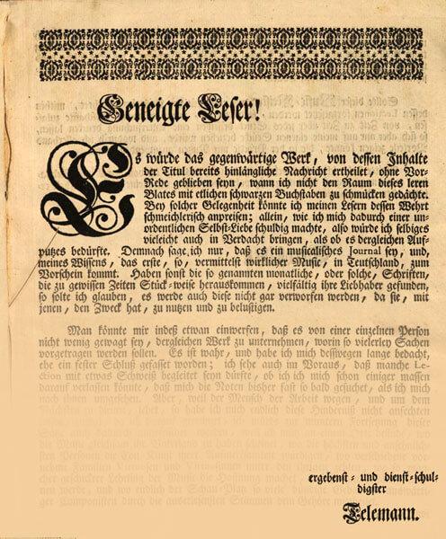 Der getreue Music-Meister, S. 3 (Vorwort) bzw. 4 (Unterschrift)