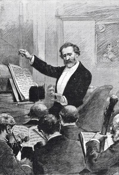 """Giuseppe Verdi dirigiert """"Aida"""" bei der Pariser Erstaufführung 1880"""