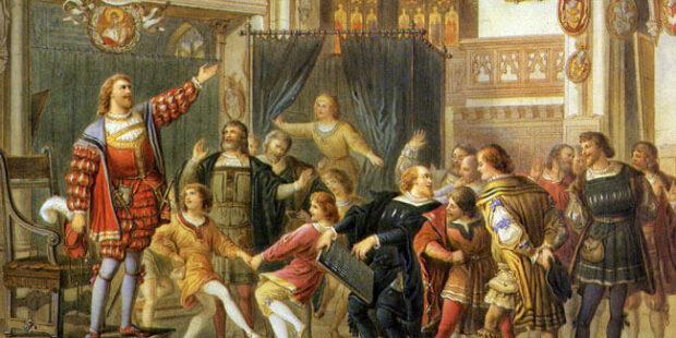 Die Meistersinger von Nürnberg – Stolzings Probesingen. Gemälde von Michael Echter