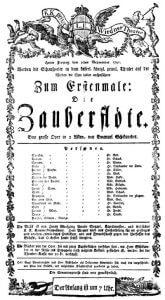 Die Zauberflöte – Theaterzettel zur Uraufführung am 30. September 1791