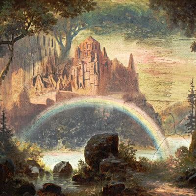 Walhalla. Gemälde von Hermann Burghart/Entwurf für das Bühnenbild 1878