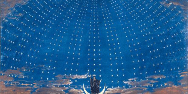 Die Sternenhalle der Königin der Nacht. Bühnenbild von Friedrich Schinkel