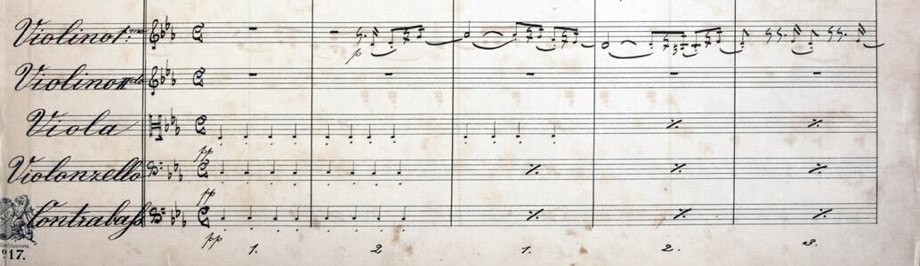 Anton Bruckner: Sinfonie Nr. 1 (Linzer Fassung), Beginn des 1. Satzes. Handschriftliche Partitur