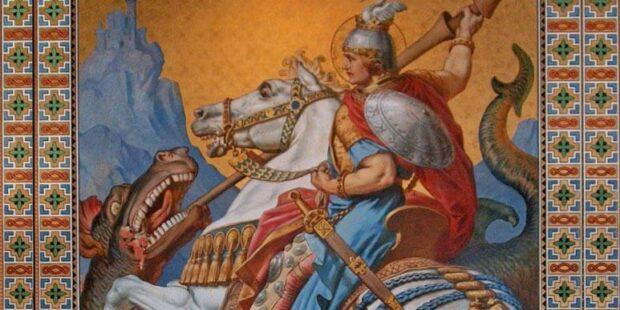 Siegfried tötet den Drachen. Fresko in Schloss Neuschwanstein