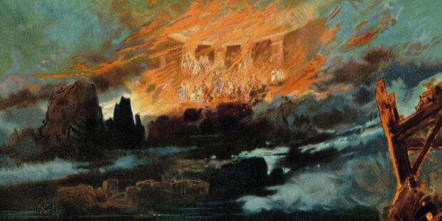 Götterdämmerung. Bühnenbild von Max Brückner, 1896