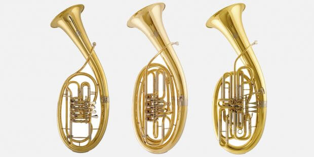Wagnertuben in F, in B & Doppel-Wagnertuba in F/B, Instrumente der Gebr. Alexander, Rhein. Musikinstrumentenfabrik GmbH