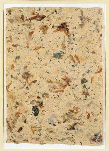 Wild Edible Drawing No 9 von John Cage, 1990 (Handgeschöpftes Papier mit Einschlüssen aus Maulbeeren, Bananen, Brennnessel, Hibiskusblättern, Nelken, Dulce und Périlla)