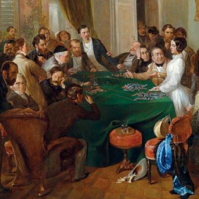 La Traviata, Eklat am Spieltisch. Gemälde von Carl d'Unker (zugeschrieben)