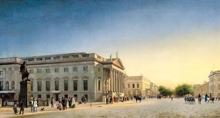 Opernhaus Berlin, 1852. Gemälde von Eduard Gaertner