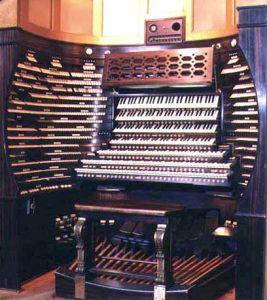 Spieltisch der Orgel in der Convention Hall, Atlantic City