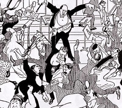 """Das Watschenkonzert, Karikatur in """"Die Zeit"""" 6.4.1913"""
