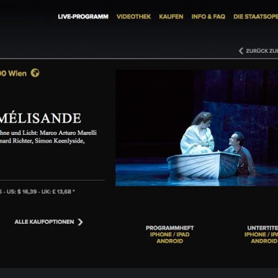 Wiener Staatsoper Livestreaming, Website