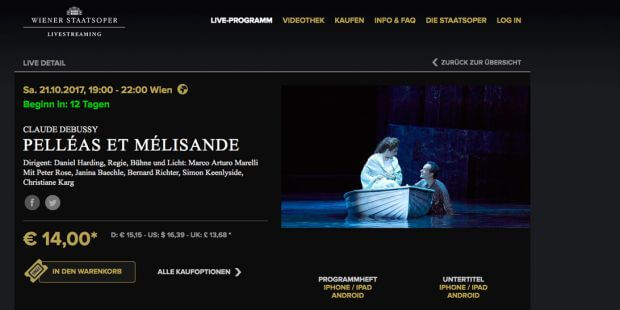 Wiener Staatsoper Livestreaming, Website