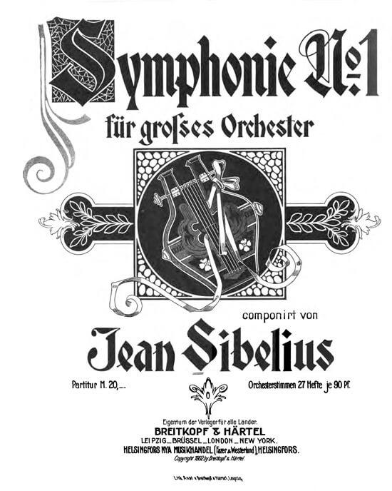 Jean Sibelius: Sinfonie Nr. 1, Deckblatt der Ausgabe von Breitkopf & Härtel 1902