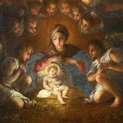 Symbolbild Weihnachten. Gemälde von Anonymus
