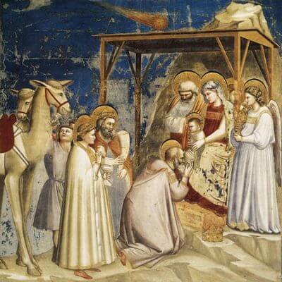 Symbolbild Weihnachten und Heilige Drei Könige. Gemälde von Giotto di Bondone