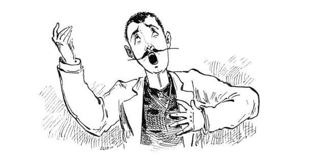 Karikatur eines Tenors