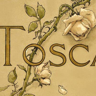 """Deckblatt des Librettos zu """"Tosca"""", 1889"""