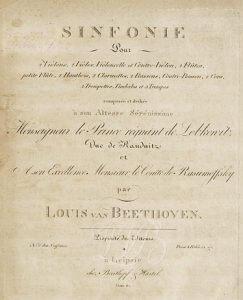 Ludwig van Beethoven, Sinfonie Nr. 5. Deckblatt der Ausgabe von 1809