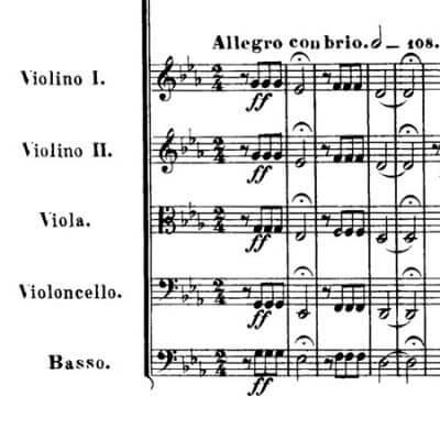"""Ludwig von Beethoven: Sinfonie Nr. 5, Beginn des 1. Satzes """"Schicksalsmotiv"""""""
