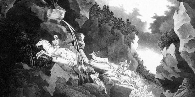 Der Freischütz, 2. Akt: Geisterheer in der Wolfsschlucht. Bühnenbildentwurf, Weimar 1822