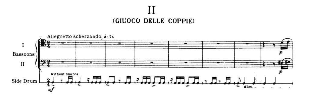 Béla Bartók: Konzet für Orchester, Beginn des 2. Satzes mit der überholten Tempoangabe