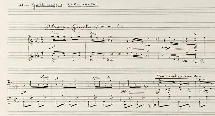 """Claude Debussy: """"Golliwog's Cake Walk"""" aus """"Childrens's Corner"""". Handschrift von 1908"""