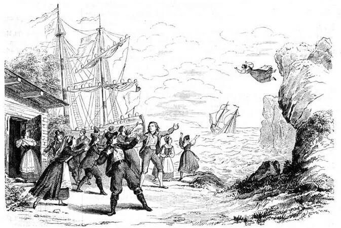 Der fliegende Holländer. Illustration der Schlussszene, 1843