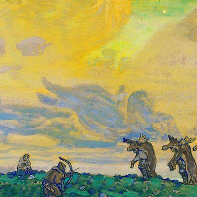 Bühnenbildentwurf von Nicholas Roerich für das Ballets Russes, ca. 1911-1913