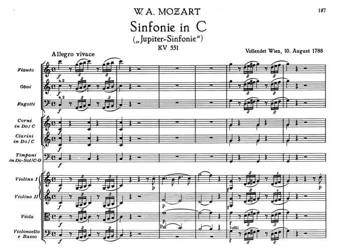 Wolfgang Amadeus Mozart: Sinfonie Nr. 41 C-Dur. Beginn des ersten Satzes