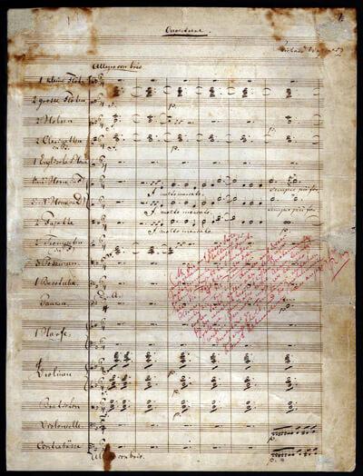 """Ouvertüre zu """"Der fliegende Holländer"""". Handschrift von Richard Wagner, mit Anmerkungen für den Verleger (in rot)"""