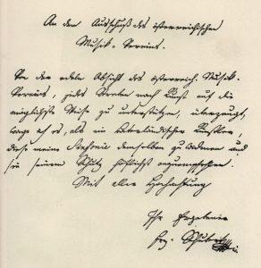 Brief Franz Schuberts an den österreichischen Musik-Verein, in dem er (die ebenfalls übersandte) Sinfonie dem Musik-Verein widmet. [Brief ohne Datum, vermutlich 1826]