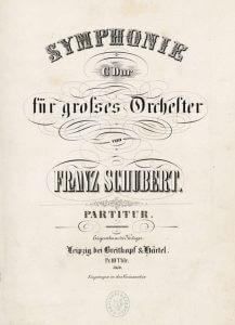 Deckblatt der Partitur zu Schuberts Sinfonie Nr. 8. Breitkopf & Härtel, um 1850