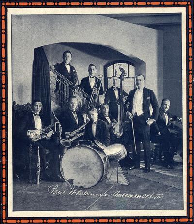 Paul Whiteman mit seinem Orchester, 1921