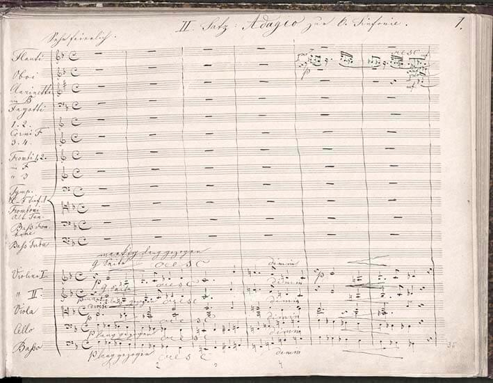Anton Bruckner: Sinfonie Nr. 6, Beginns des 2. Satzes (Autograph. Fassung von 1880)