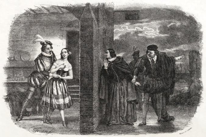 """Szene des Quartetts """"Bella figlia dell'amore"""". Zeichnung von Roberto Focosi auf dem Erstausgabe des Klavierauszugs 1852"""