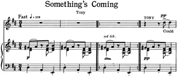 """Something's Coming"" aus der West Side Story von Leonard Bernstein. Klavierauszug"