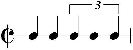 Der sog. Bruckner-Rhythmus aus zwei (duolischen) und drei triolischen Vierteln