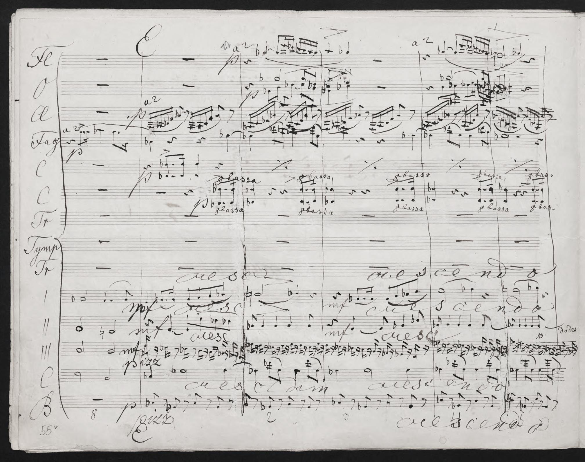 Anton Bruckner: Sinfonie Nr. 4, Detail aus dem 2. Satz (Autograph. Fassung von 1874)