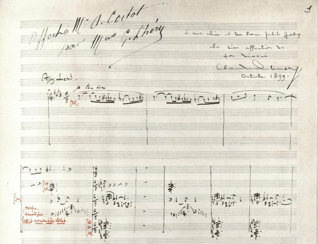 """Particell des Werks """"Prélude à l'après-midi d'un faune"""" von Claude Debussy. Holograph ca. 1891-1894"""