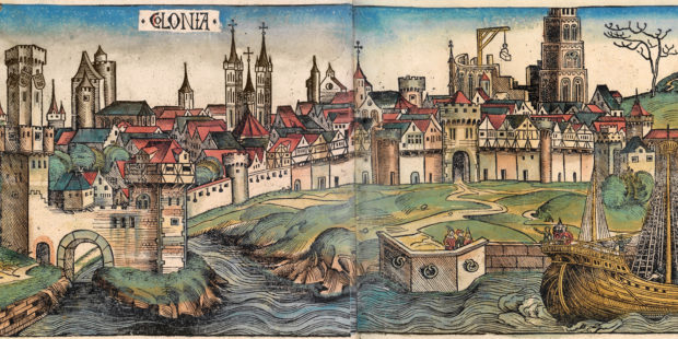 """Abbildung der Stadt Köln. Illustrierter Holzschnitt aus der """"Schedelsche Weltchronik"""", 1493"""