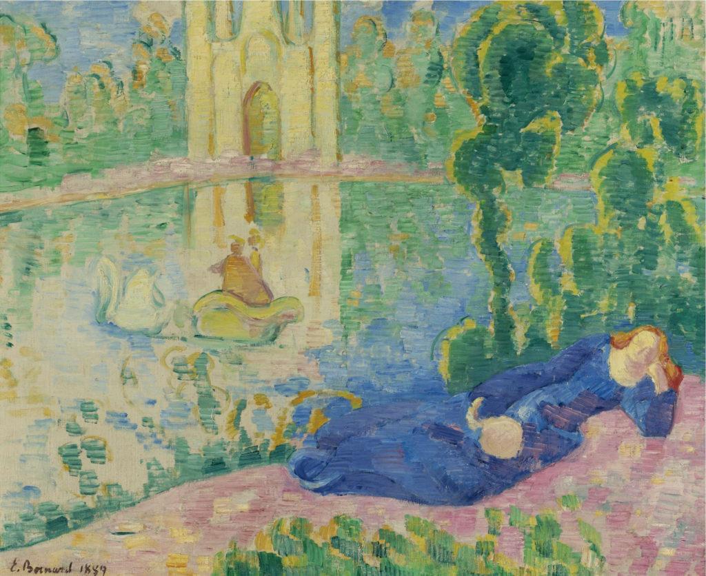 Lohengrin (Le lac au cygne). Gemälde von Émile Bernard, 1889