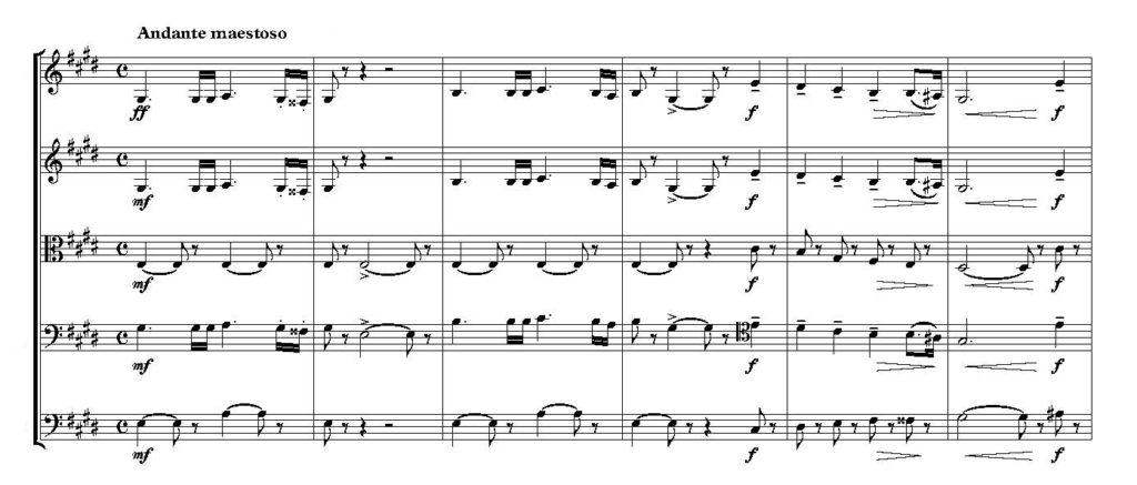 Pjotr Iljitsch Tschaikowsky: Sinfonie Nr. 5. Thema des Finales, hier in den Streichinstrumenten