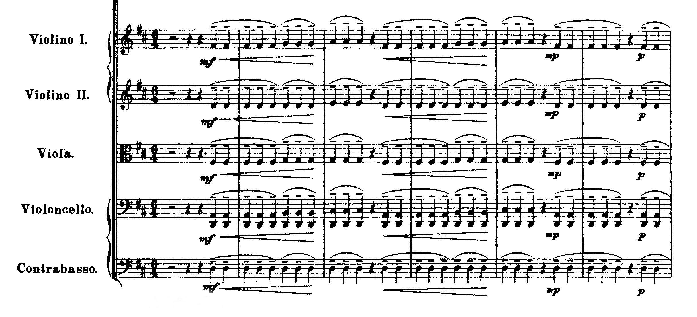 Jean Sibelius, Sinfonie Ne. 2, Beginn des 1. Satzes