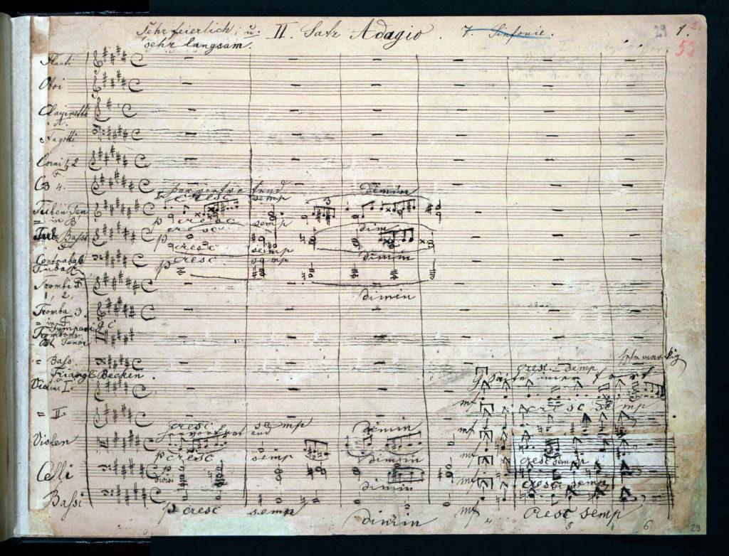 Anton Bruckner, Sinfonie Nr. 7, Beginn des Adagios. Autograf des Manuskripts, 1881